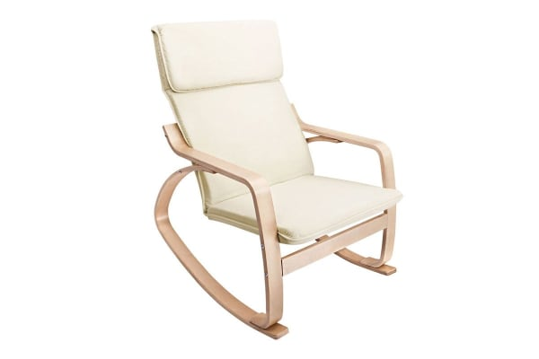 Bentwood Fabric Rocking Armchair (Beige)