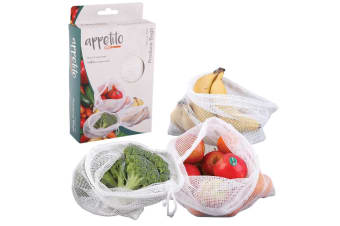 3pc Appetito Woven Net Produce Reusable Food Storage Fruit Vegetable Mesh Bags