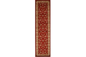 Traditional Floral Pattern Runner Rug Red