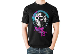 Friday The 13th Adults Unisex Eighties Mask Design T-Shirt (Black)