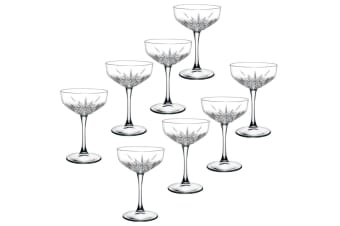 8pc Pasabahce Timeless 255ml Clear Champagne Cocktail Saucer Coupe Glasses