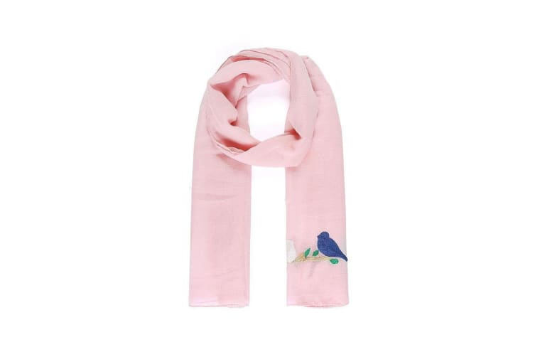 Intrigue Womens/Ladies Embroidered Bird Narrow Scarf (Pink) (One Size)