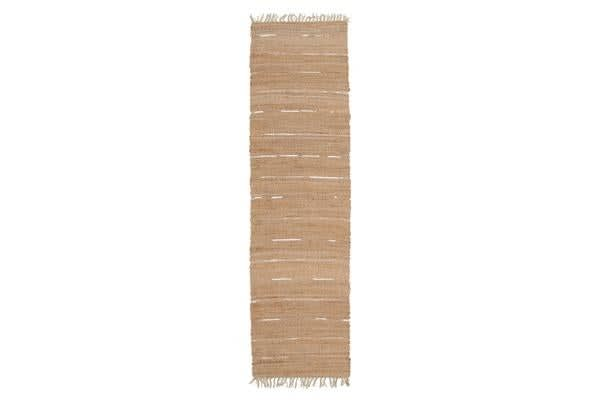 Saville Jute and Leather Rug Natural 300x800cm
