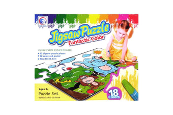 Colour Yourself Jumbo Floor Puzzle with 18 Pastels - Friendly Animal Puzzle