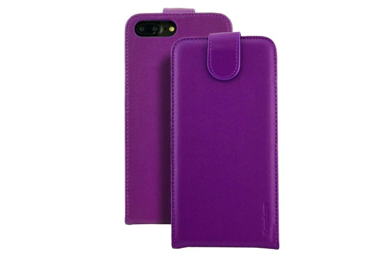 brand new defd9 080c0 For iPhone 8 PLUS 7 PLUS Case iCoverLover Vertical Flip Genuine Leather  Purple