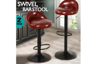 2x PU Leather Swivel Bar Stool Brown