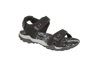 PDQ Womens/Ladies Toggle & Touch Fastening Sports Sandals (Black)