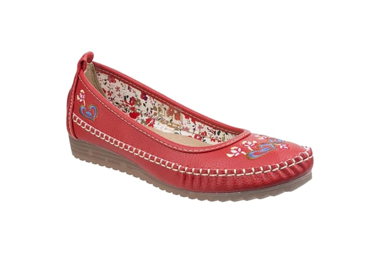 Fleet & Foster Women/Ladies Algarve Moccasin (Red) (5 UK)