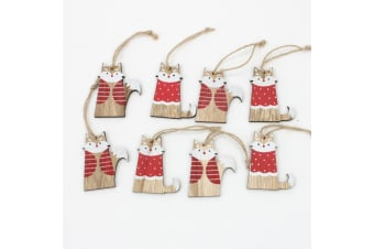 Set of 8 Christmas XMAS Wooden Tree Ornaments Fox Hanging Decoration Decor 6cm