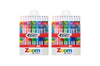 2x 12pc Texta The Original Zoom Non Toxic Twist Crayons Colouring/Drawing Kids