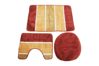 3 Piece Oval Pattern Design Bath  Pedestal & Toilet Seat Cover Bathroom Mat Set (Orange/Rust) (50cm x 80cm)