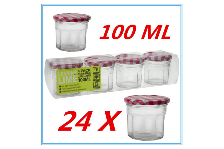 24 X SMALL CONSERVE PRESERVING JAM CANDY JAR JARS PATTER RED WHITE LID 100ML FD
