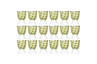 18pc KitchenCraft Floral Yellow Boiled Egg Cup Holder Stand Tableware Serving