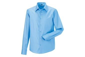 Russell Collection Mens Long Sleeve Tailored Ultimate Non-Iron Shirt (Bright Sky) (16inch)