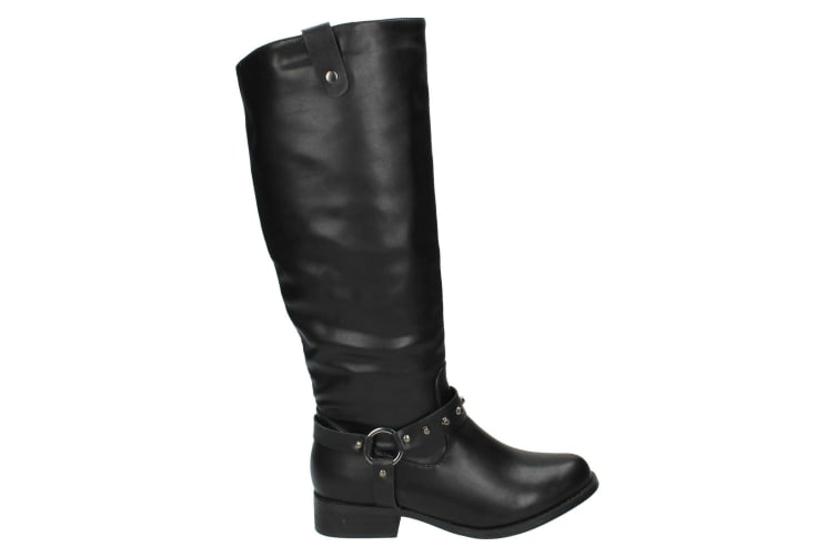 Spot On Womens/Ladies Studded Ring Strap Knee High Boots (Black) (5 UK)