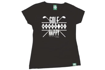 Out Of Bounds Golf Tee - Golf Makes Me Happy - (Small Black Womens T Shirt)