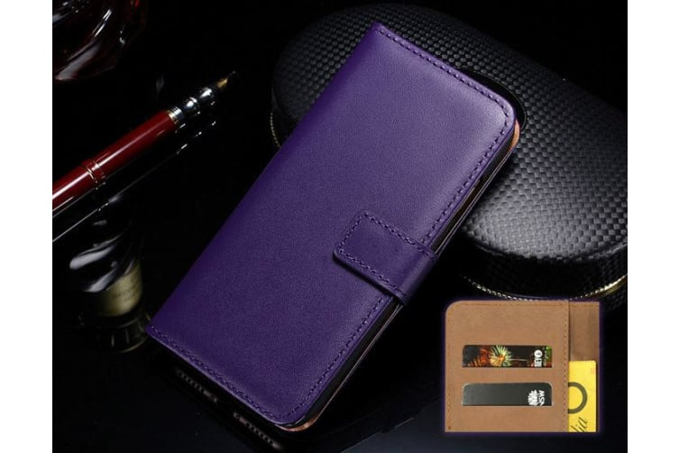 For iPhone XS X Wallet Case Elegant Slim Leather Cover Card Holder Purple