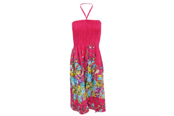 Ladies/Womens Floral And Leaf Printed 3 In 1 Summer Dress/Skirt (Pink) (Small)