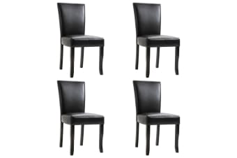 vidaXL Dining Chairs 4 pcs Black Faux Leather