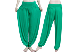Womens Modal Cotton Soft Yoga Sports Dance Harem Pants Green S