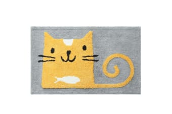 Cartoon Thickened Floor Cushion Absorbing And Anti-Skid Footpad - Cat Yellow 50*80Cm