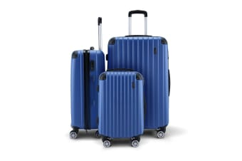"3PCS Blue Luggage Suitcase set 20"" 24"" 28"" With Lock"