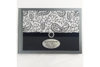 Personalised Memorial Funeral Guest Book- Black Sparkle