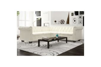vidaXL Chesterfield Corner Sofa 5-Seater Artificial Leather White