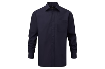 Russell Collection Mens Long Sleeve Shirt (French Navy)