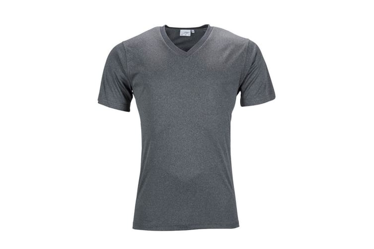 James and Nicholson Mens Active V Neck T-Shirt (Dark Grey Melange) (3XL)