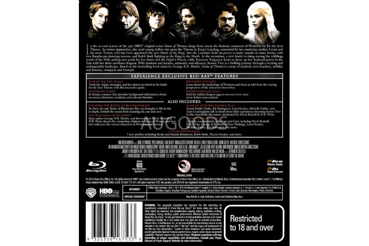 Game of Thrones The Complete Second Season - Series Rare- Aus Stock Blu-Ray