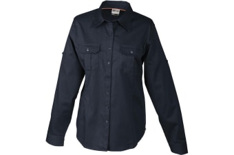 James and Nicholson Womens/Ladies Roll-up Sleeves Travel Blouse (Navy) (XL)