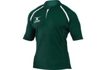 Gilbert Rugby Childrens/Kids Xact Match Short Sleeved Rugby Shirt (Green) (11-12 Years)