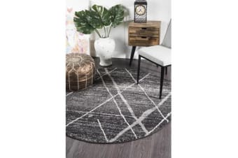 Amelia Charcoal & Grey Abstract Durable Round Rug 150x150cm