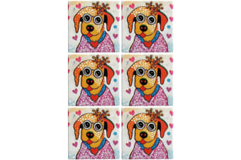 6pc Maxwell & Williams Smile Style Ceramic Tile Coaster Posey 9cm Placemat