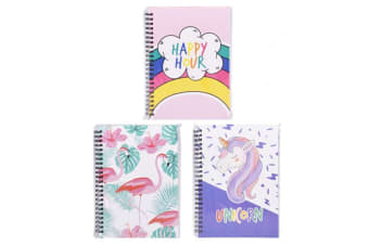 24 x A5 Spiral Notebooks Unicorn Flamingo Happy-Hour Diary Stationary Note Book