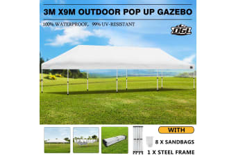 OGL Outdoor Gazebo 3x9m Event Party Wedding Pop Up Canopy Tent Marquee - White