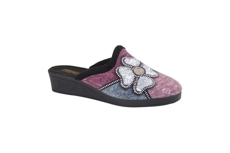 Sleepers Womens/Ladies Kimberly Flower Trim Mule Slippers (Black/Purple/Blue/Silver) (3 UK)