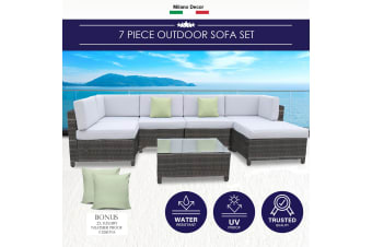 Milano 7 Piece Wicker Rattan Sofa Set Oatmeal Grey Outdoor Lounge Furniture