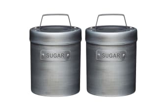 2PK Kitchen Craft Industrial Vintage-Style Metal Sugar Canister Container Jar