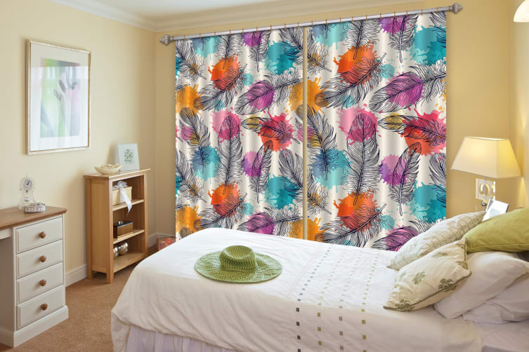 3D Feathers And Color Dots 342 Curtains Drapes, 264cmx160cm(WxH) 104''x 63''