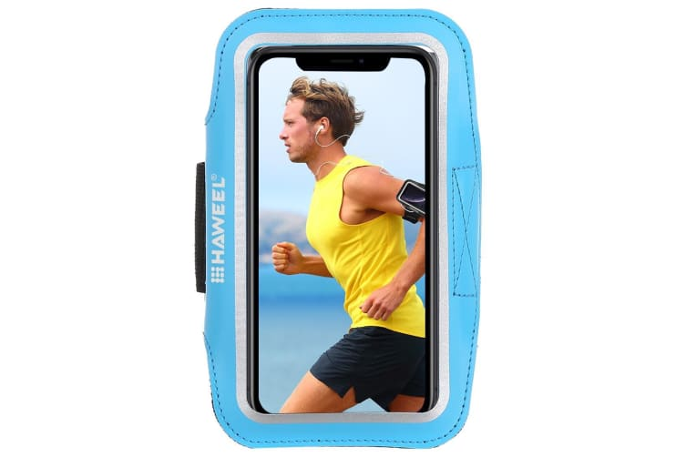 For Samsung S10 PLUS & iPhone XS MAX Case Blue PVC Leather Sports Armband