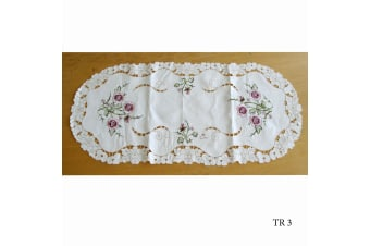 Cream Embroidered Doilies Table Runner TR3