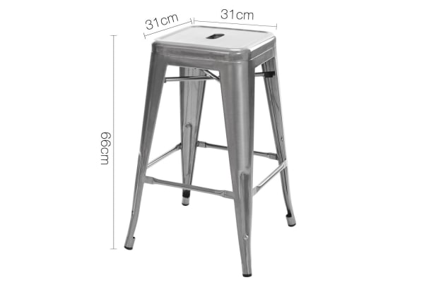 Set of 4 Steel Kitchen Bar Stools 66cm Gloss Finish