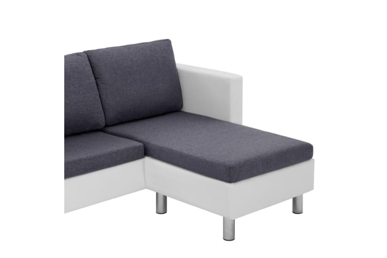vidaXL 3-Seater Sofa with Cushions White Faux Leather
