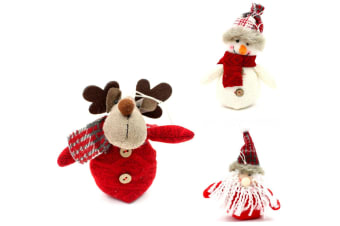 3x Christmas Plush Tree Ornaments Hanging Decoration Santa Snowman Reindeer