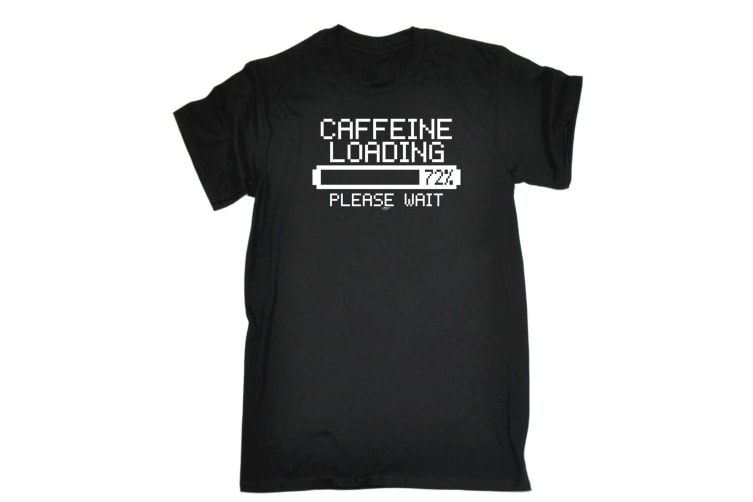 123T Funny Tee - Caffeine Loading - (XX-Large Black Mens T Shirt)