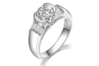 Be My Lady White Gold Layered Ring-White Gold/Clear Size US 7