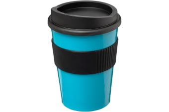 Americano Medio 300ml Tumbler With Grip (Aqua Blue/Solid Black)