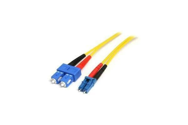 STARTECH 10m Single Mode Duplex Fiber Patch Cable - LC to SC OS1 Single Mode 9/125 Duplex LSZH Fiber Patch Cord - Yellow 10 meter